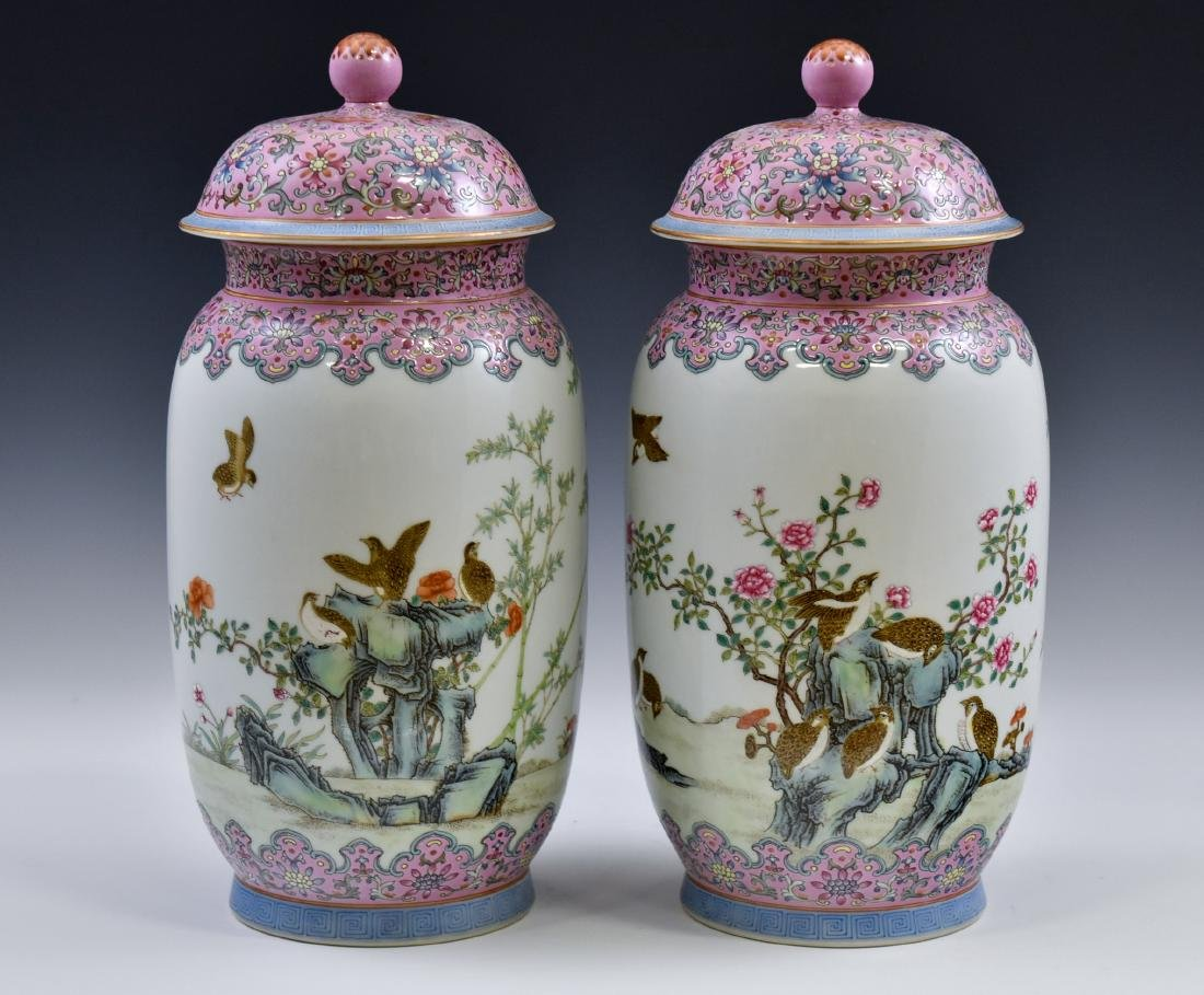 PAIR OF CHINESE FAMILLE ROSE PORCELAIN TEMPLE JARS - 2