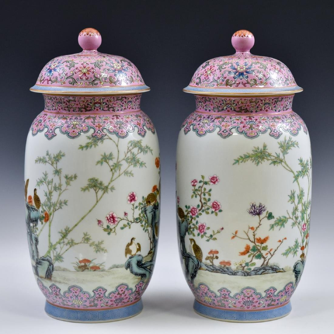 PAIR OF CHINESE FAMILLE ROSE PORCELAIN TEMPLE JARS - 3
