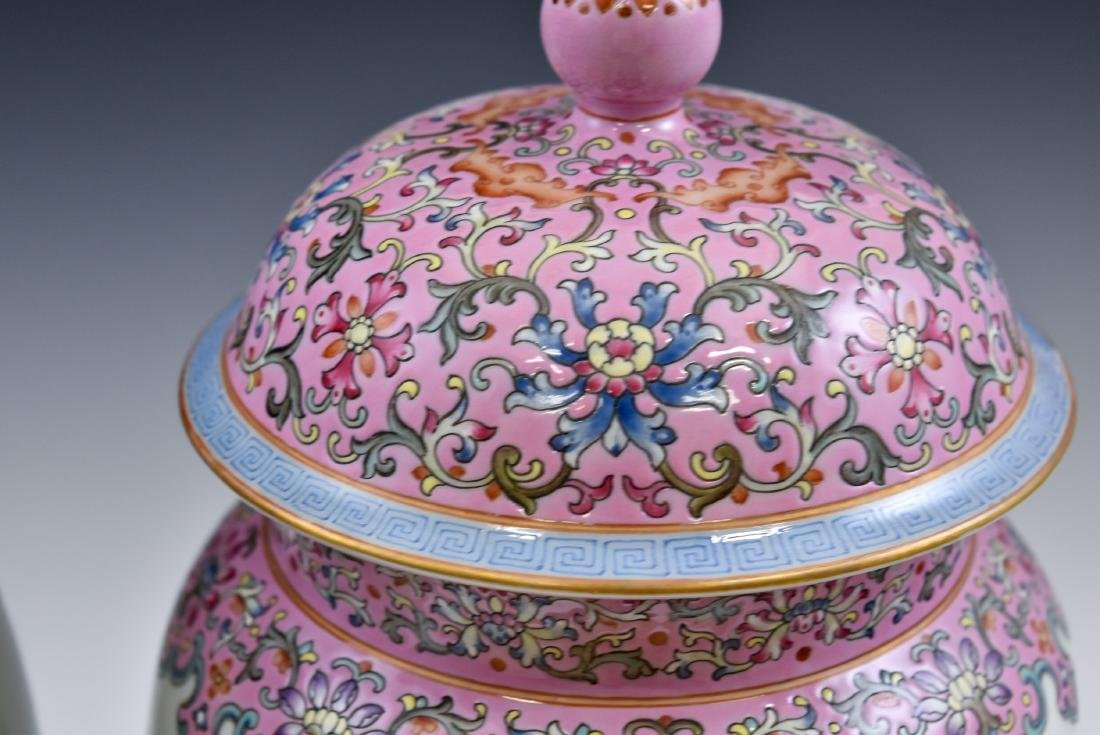 PAIR OF CHINESE FAMILLE ROSE PORCELAIN TEMPLE JARS - 6