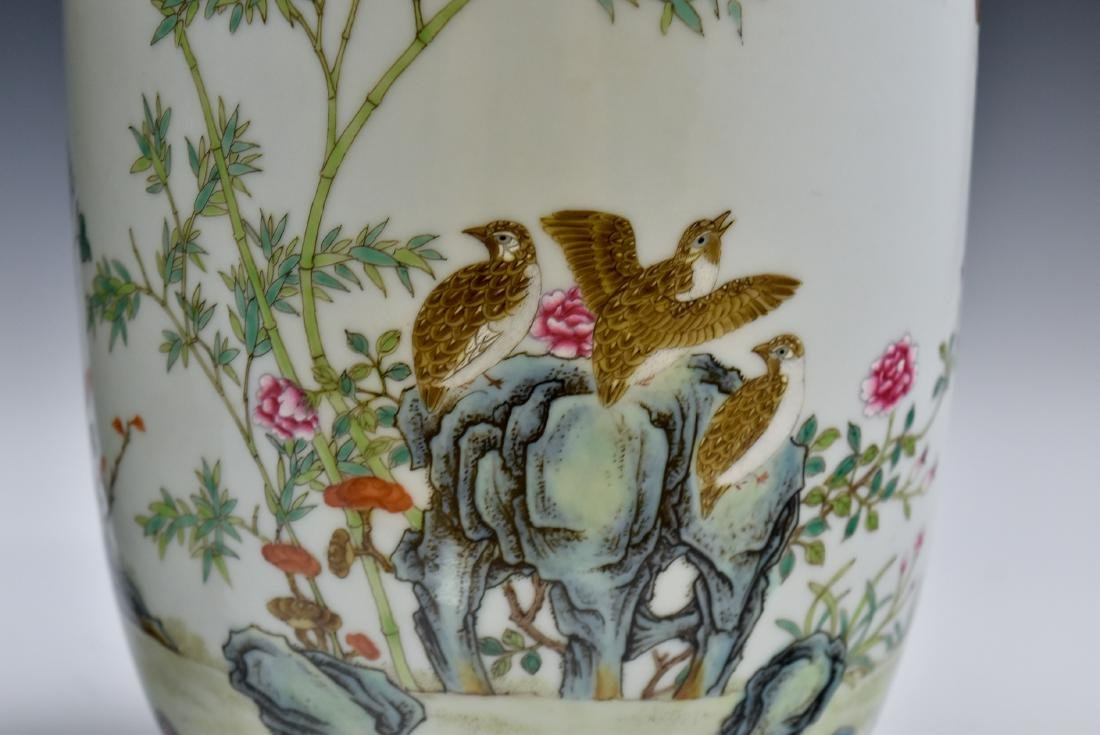 PAIR OF CHINESE FAMILLE ROSE PORCELAIN TEMPLE JARS - 8