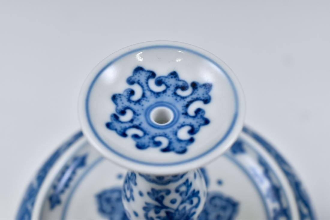 PAIR OF BLUE & WHITE PORCELAIN CANDLE HOLDERS - 10