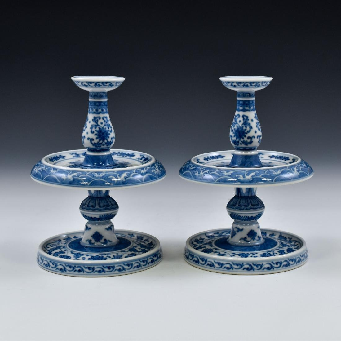 PAIR OF BLUE & WHITE PORCELAIN CANDLE HOLDERS