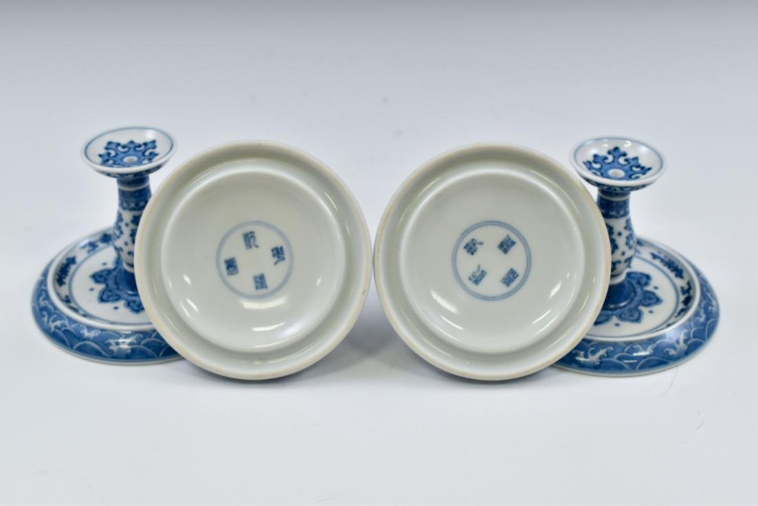 PAIR OF BLUE & WHITE PORCELAIN CANDLE HOLDERS - 2