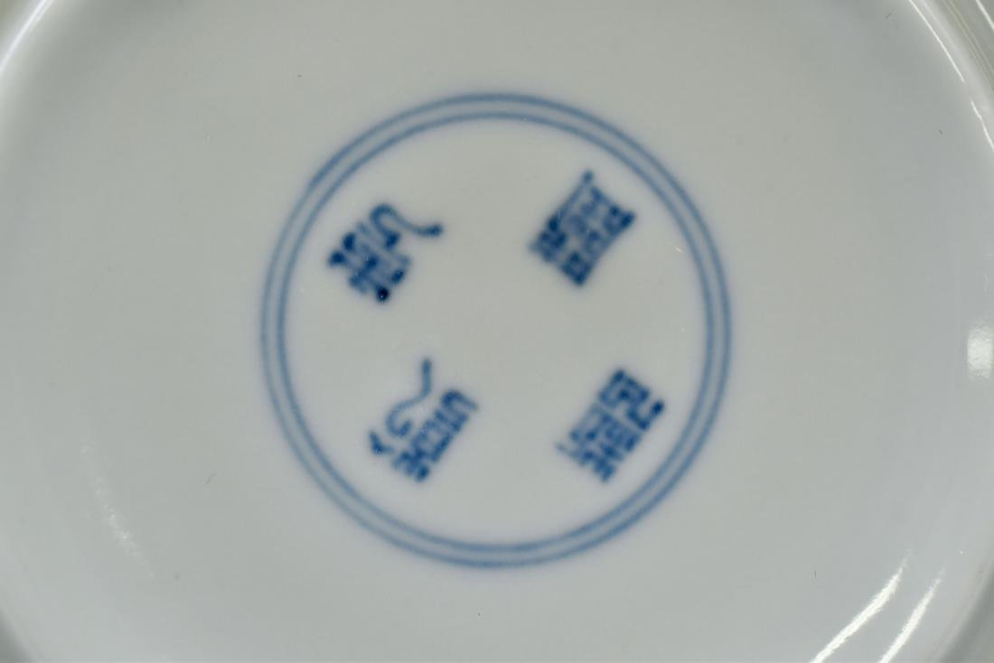 PAIR OF BLUE & WHITE PORCELAIN CANDLE HOLDERS - 4