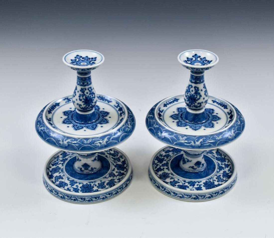 PAIR OF BLUE & WHITE PORCELAIN CANDLE HOLDERS - 5