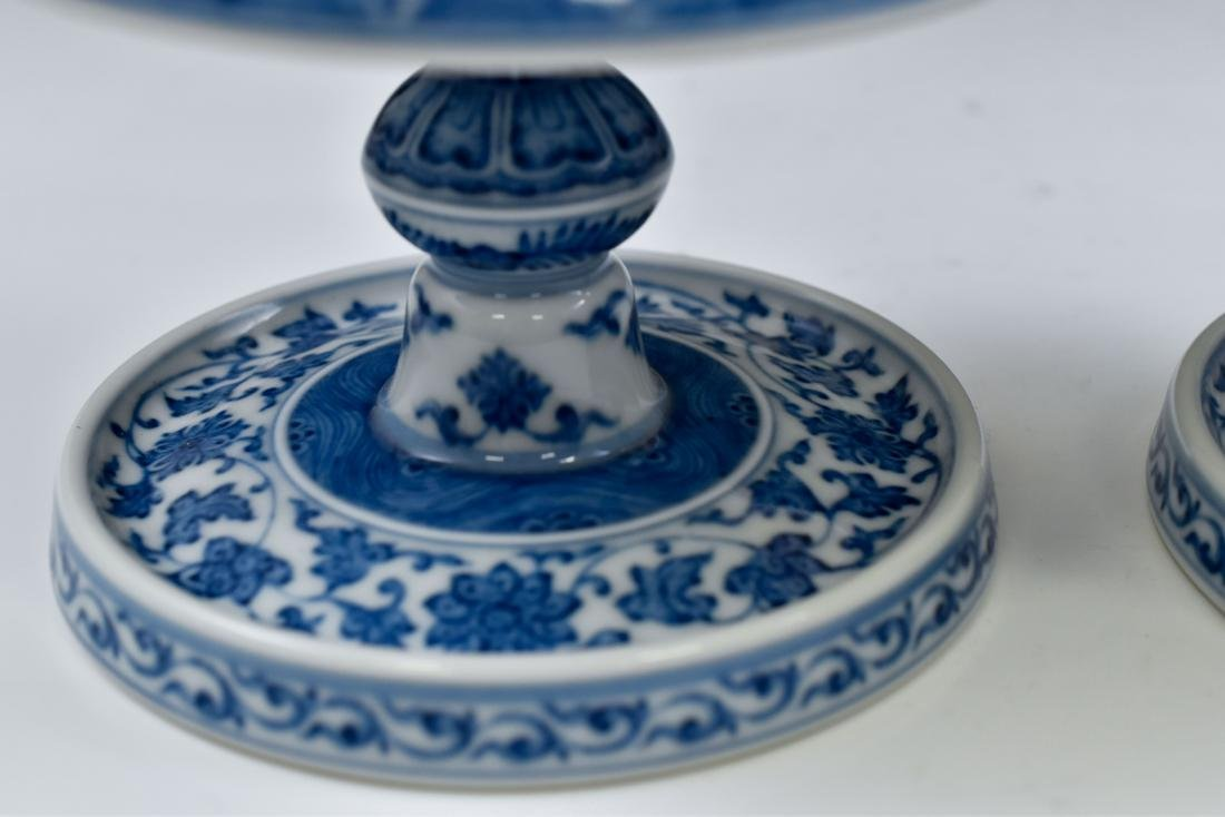 PAIR OF BLUE & WHITE PORCELAIN CANDLE HOLDERS - 8