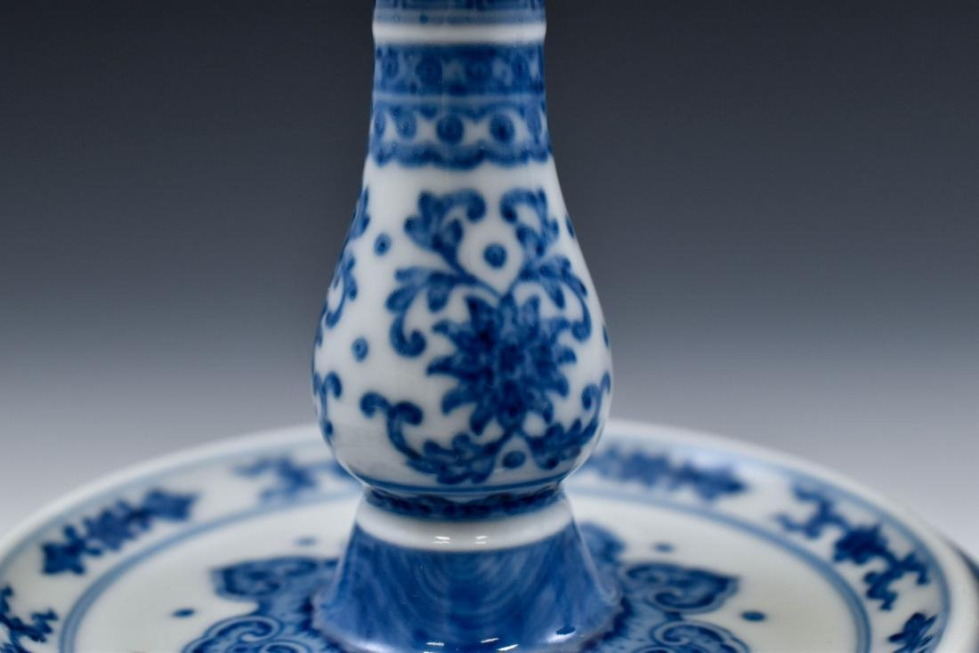 PAIR OF BLUE & WHITE PORCELAIN CANDLE HOLDERS - 9
