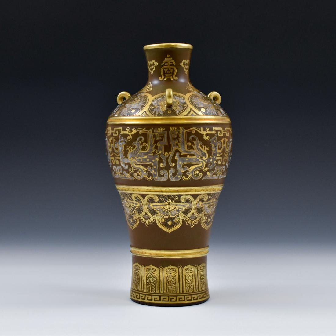 GILT AND SILVER GLAZED DECORATION PORCELAIN VASE