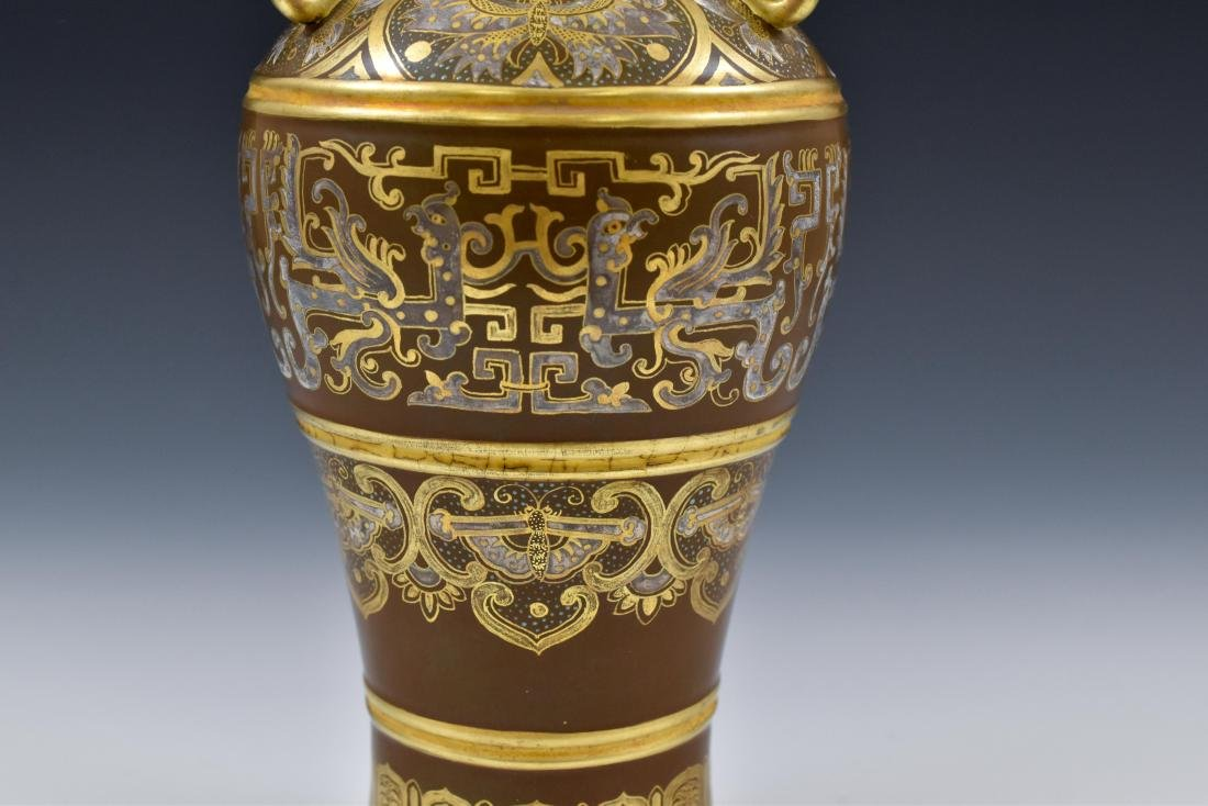 GILT AND SILVER GLAZED DECORATION PORCELAIN VASE - 8