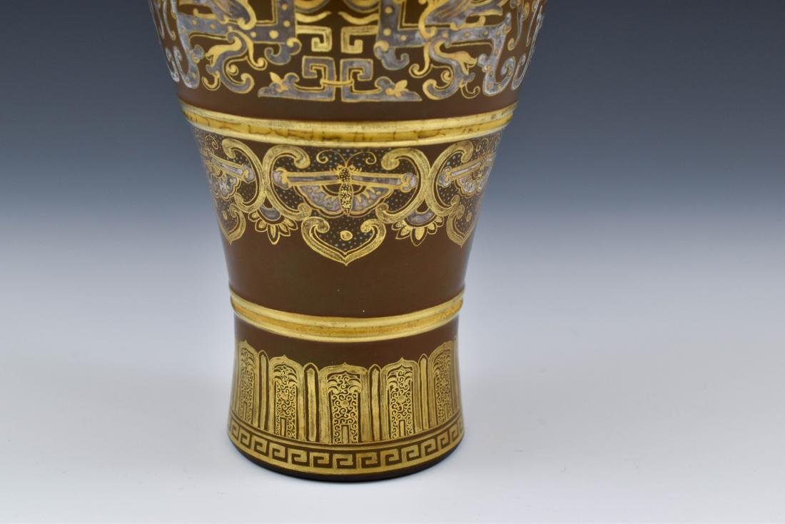 GILT AND SILVER GLAZED DECORATION PORCELAIN VASE - 9