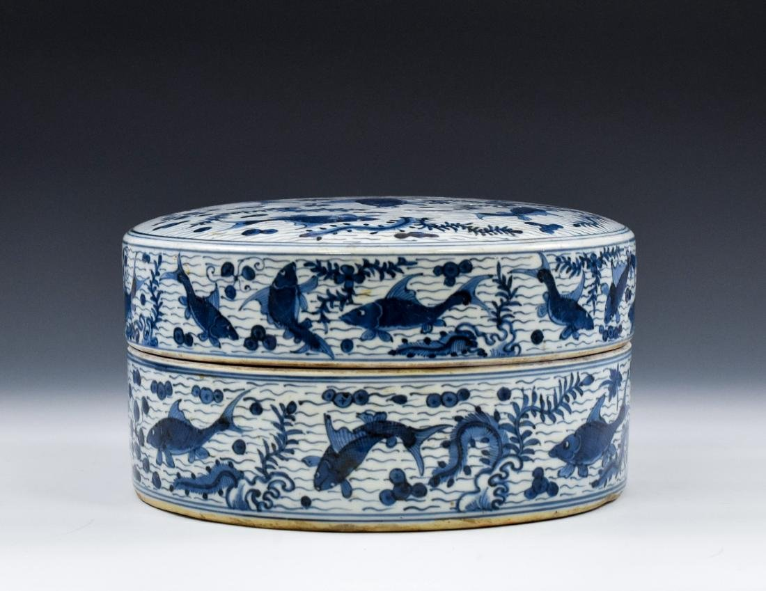 MING BLUE & WHITE ROUND PORCELAIN BOX - 2