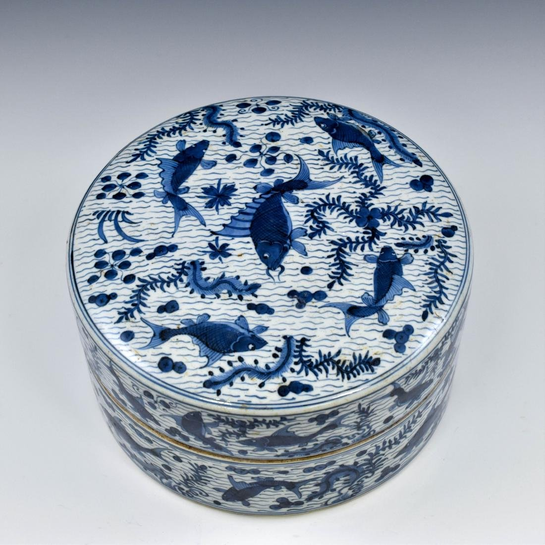 MING BLUE & WHITE ROUND PORCELAIN BOX - 3