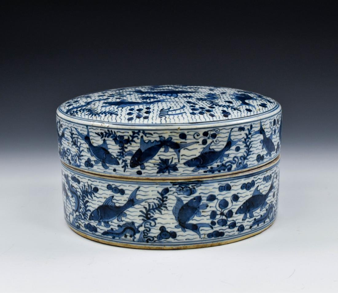 MING BLUE & WHITE ROUND PORCELAIN BOX - 4