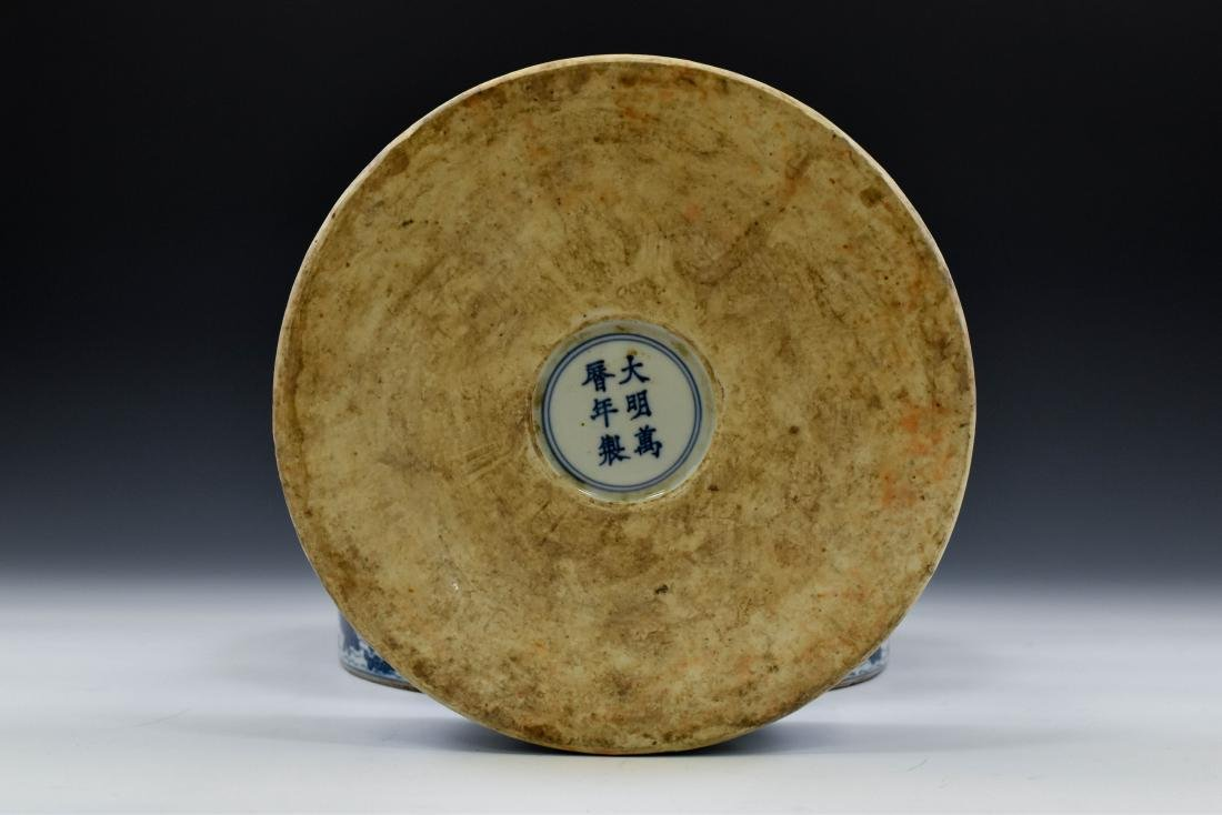 MING BLUE & WHITE ROUND PORCELAIN BOX - 5