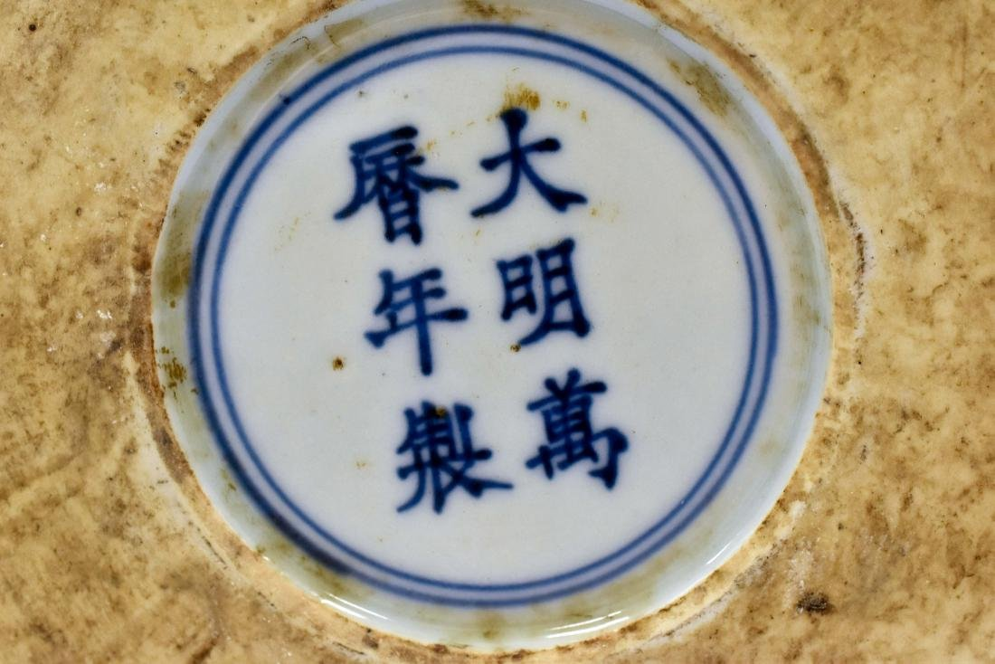 MING BLUE & WHITE ROUND PORCELAIN BOX - 6