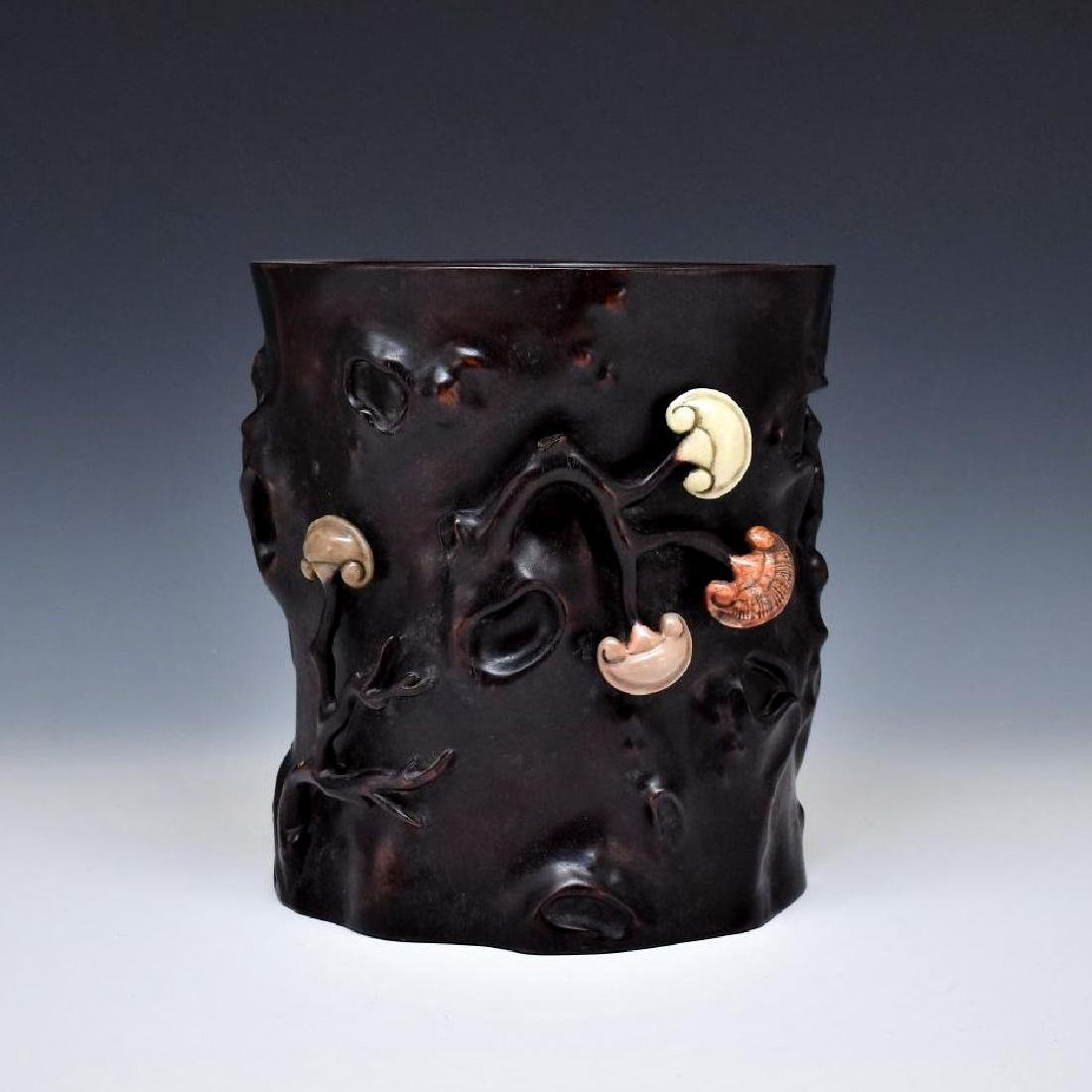 ZITAN BRUSH POT & SHOUSHAN STONE INLAID
