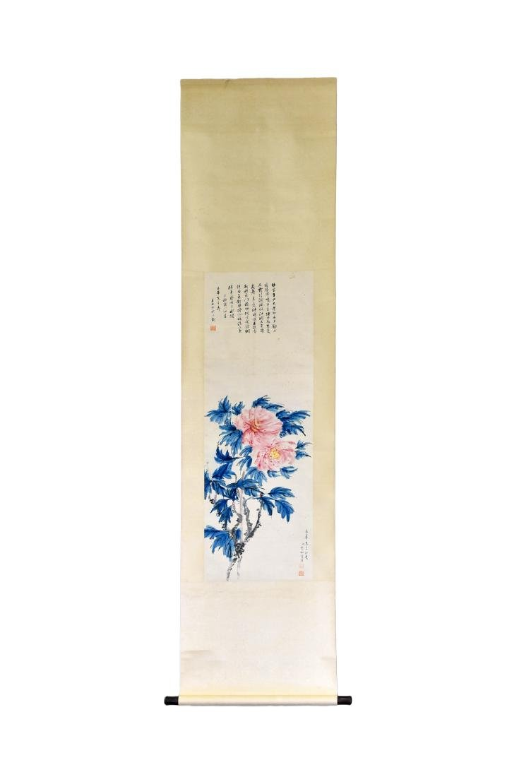 CHINESE PAINTING SCROLL OF CAMELLIA BLOOMS