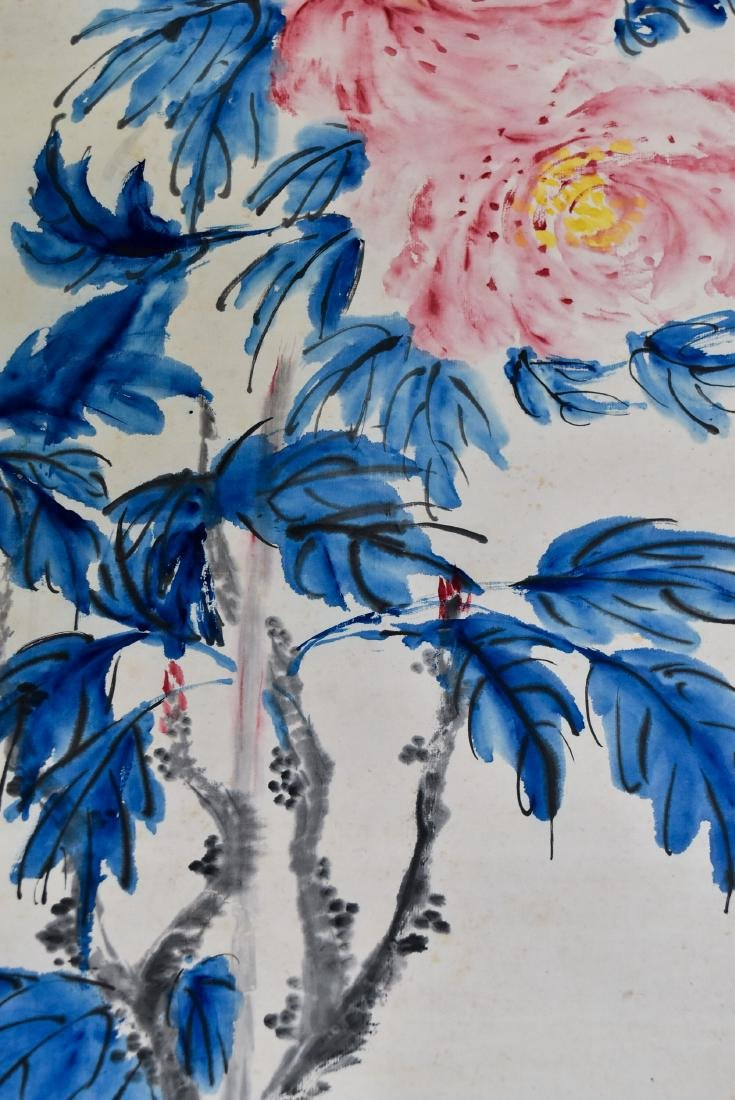 CHINESE PAINTING SCROLL OF CAMELLIA BLOOMS - 5