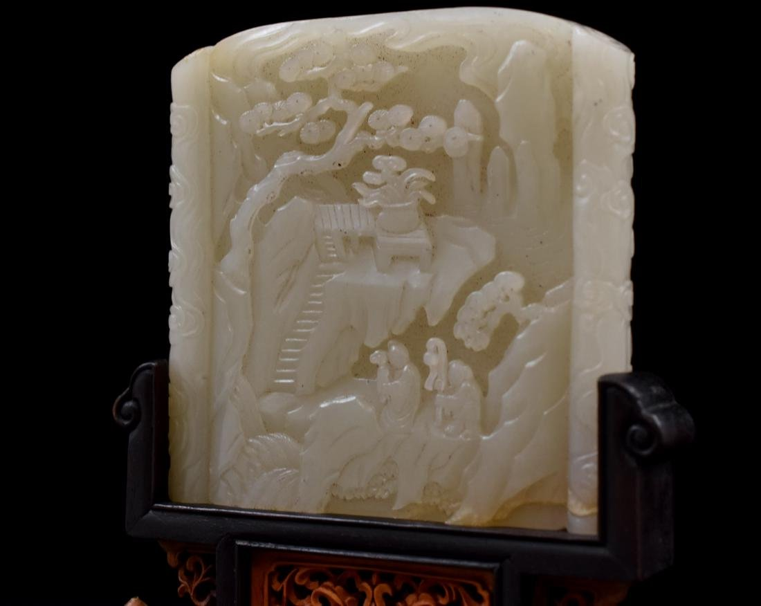CHINESE WHITE JADE TABLE SCREEN IN LANDSCAPE SCROLL - 7