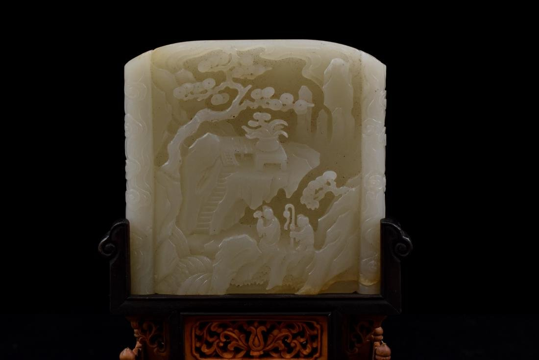 CHINESE WHITE JADE TABLE SCREEN IN LANDSCAPE SCROLL - 8