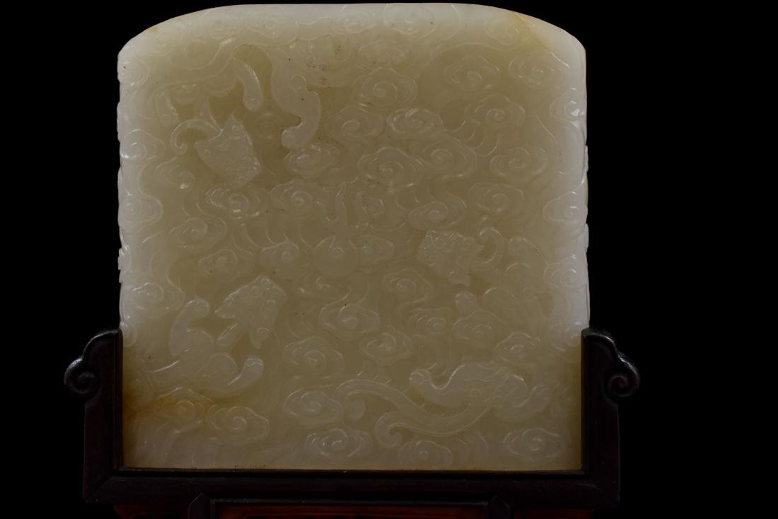 CHINESE WHITE JADE TABLE SCREEN IN LANDSCAPE SCROLL - 9