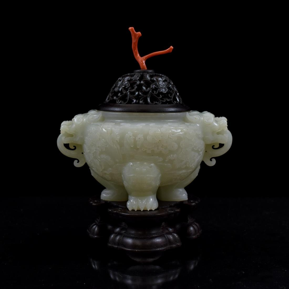 CHINESE JADE TRIPOD CENSER WITH RED CORAL FINIAL ON - 4
