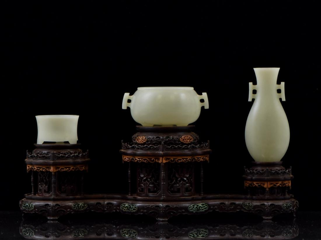 SET OF 3 PCS WHITE JADE ATTRIBUTES ON STAND