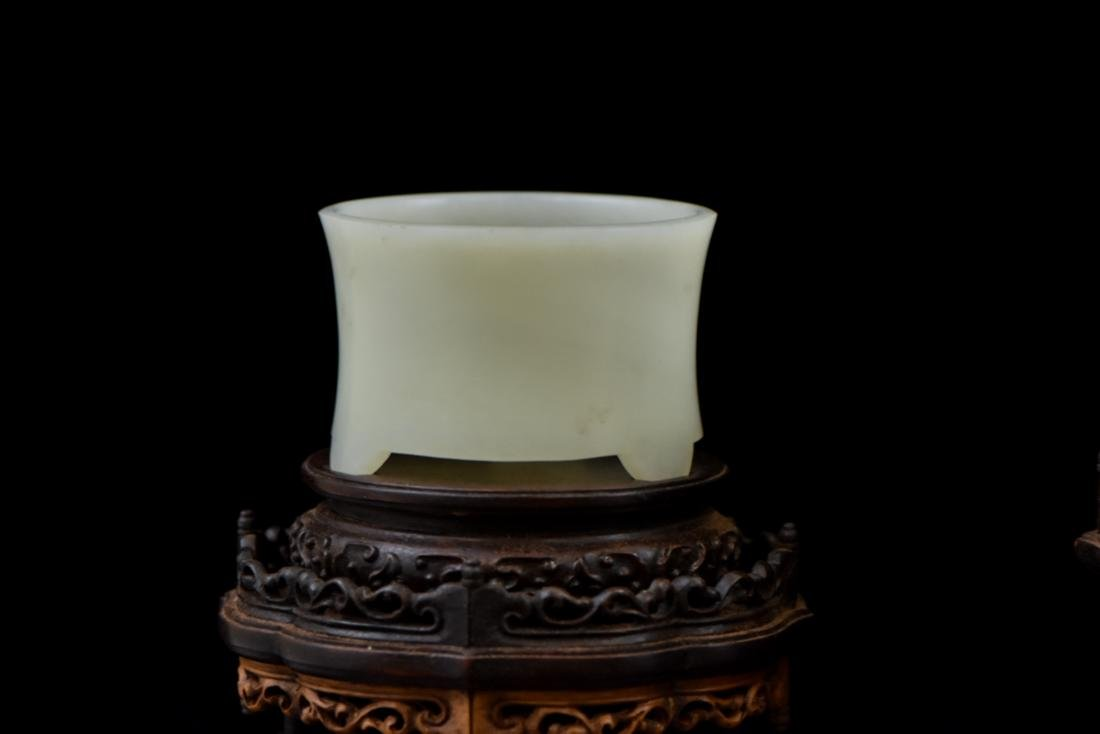 SET OF 3 PCS WHITE JADE ATTRIBUTES ON STAND - 4