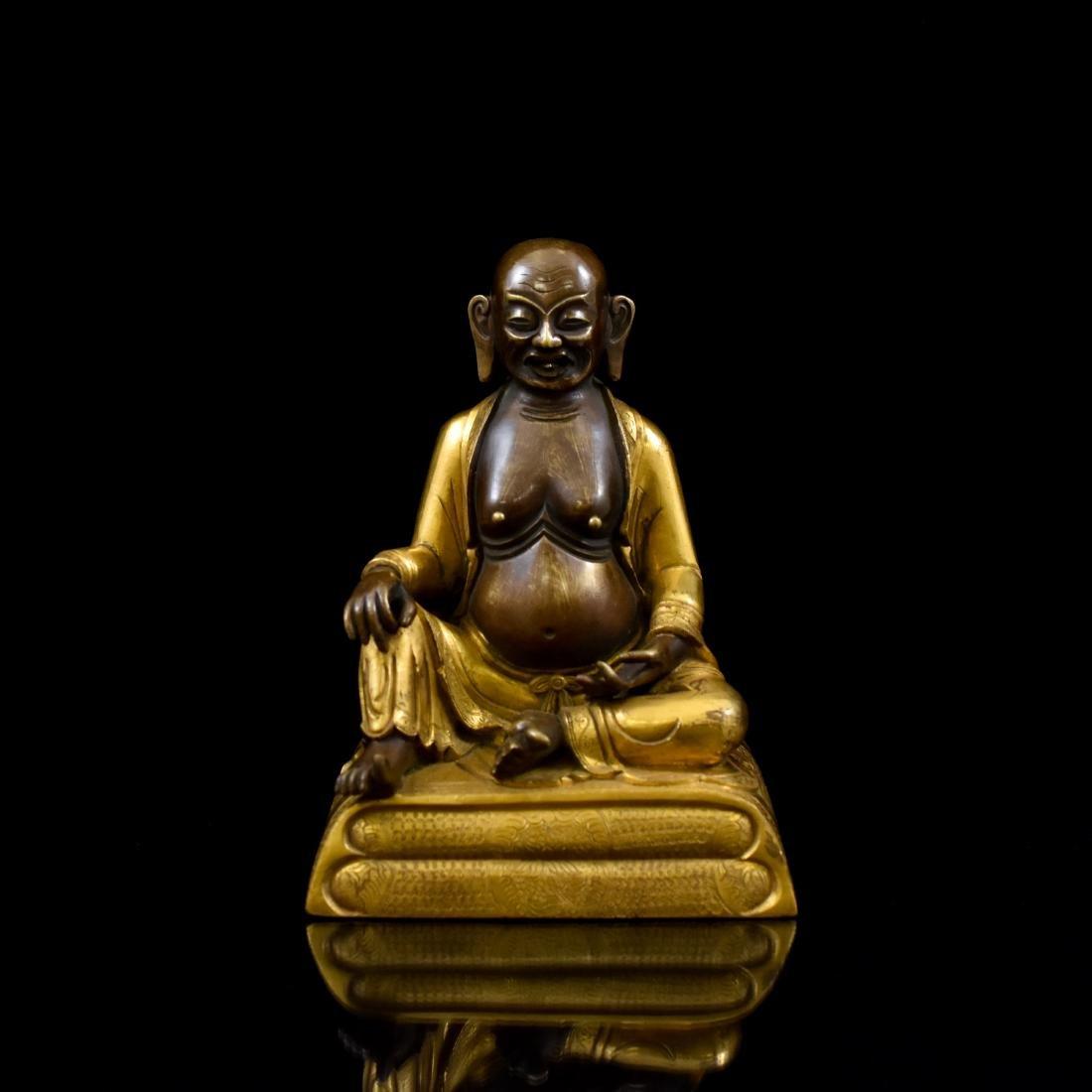 QING GILT BRONZE FIGURE OF BUDDHIST HVASHANG