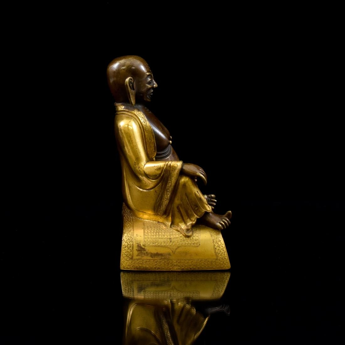 QING GILT BRONZE FIGURE OF BUDDHIST HVASHANG - 2