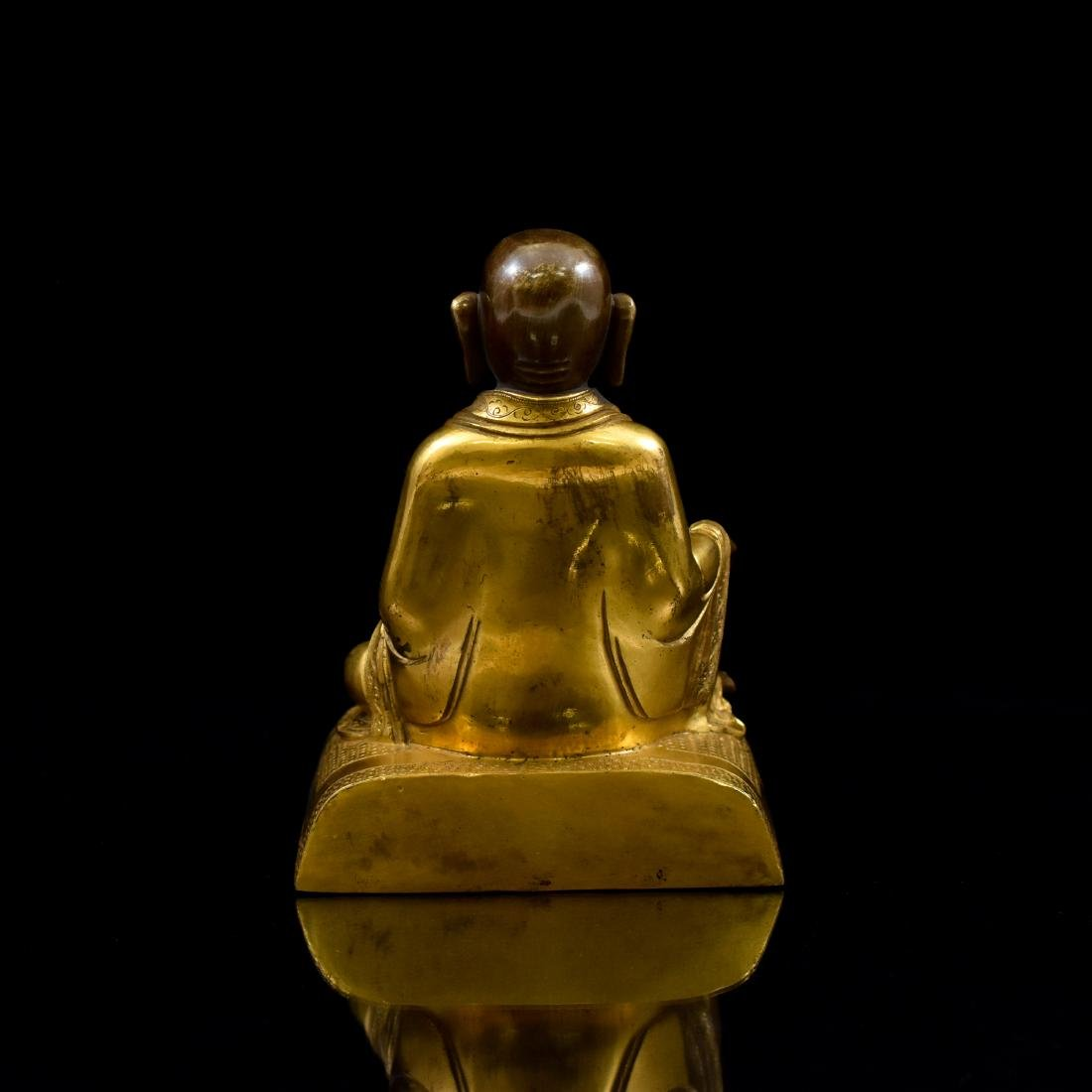 QING GILT BRONZE FIGURE OF BUDDHIST HVASHANG - 3