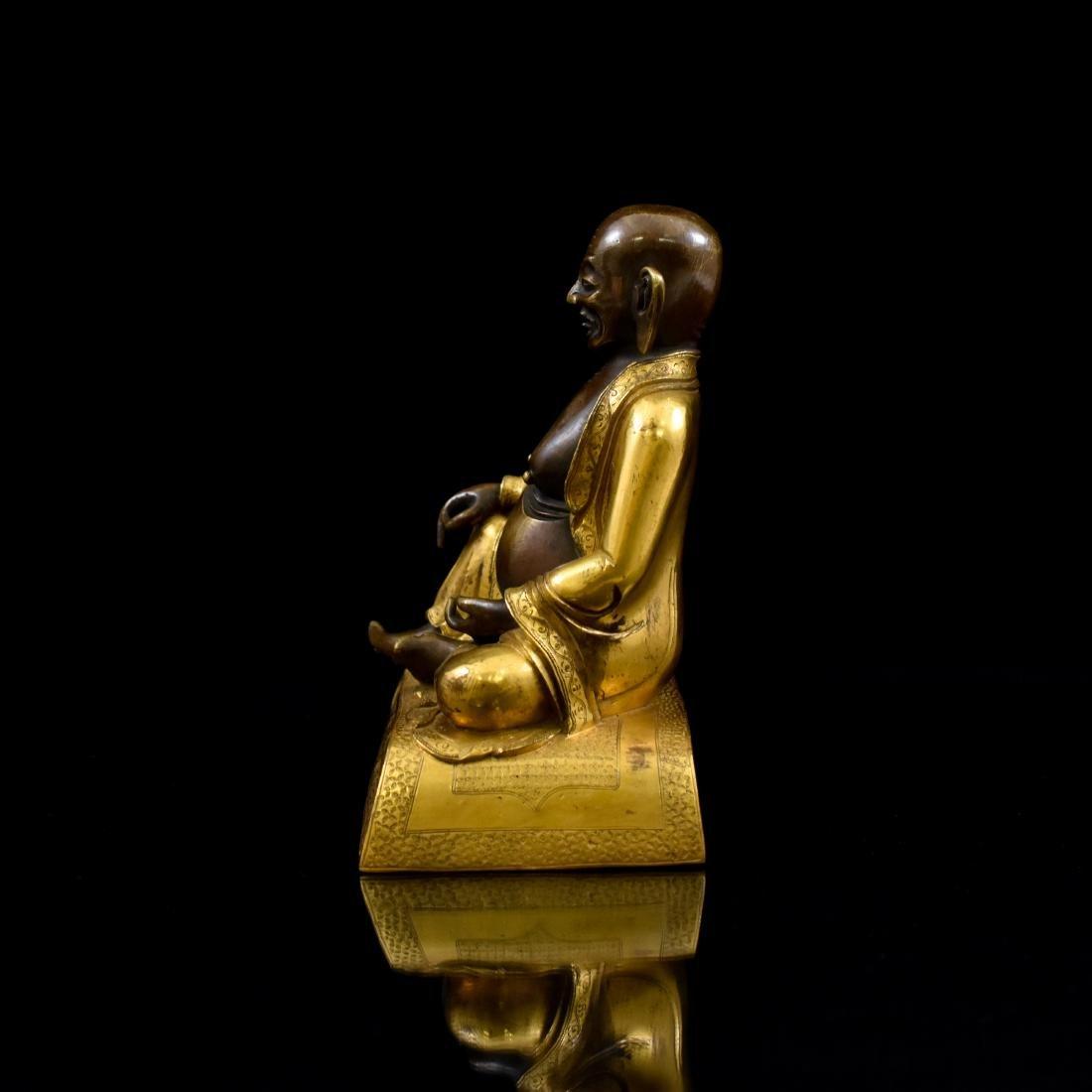 QING GILT BRONZE FIGURE OF BUDDHIST HVASHANG - 4