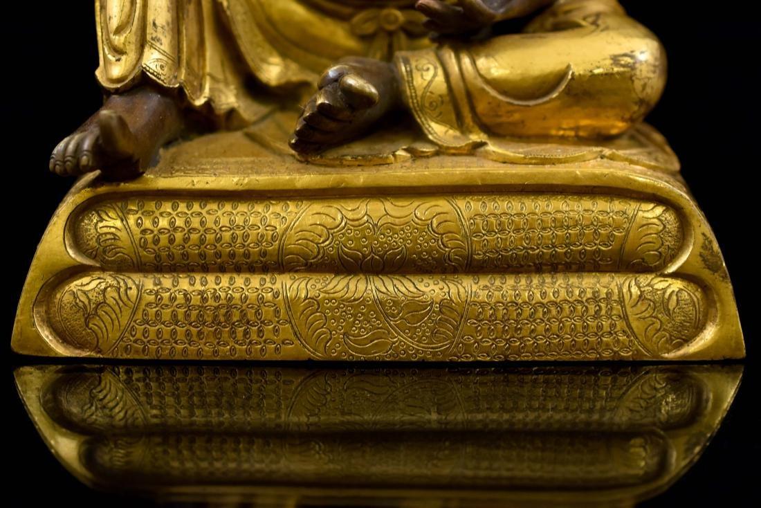 QING GILT BRONZE FIGURE OF BUDDHIST HVASHANG - 5