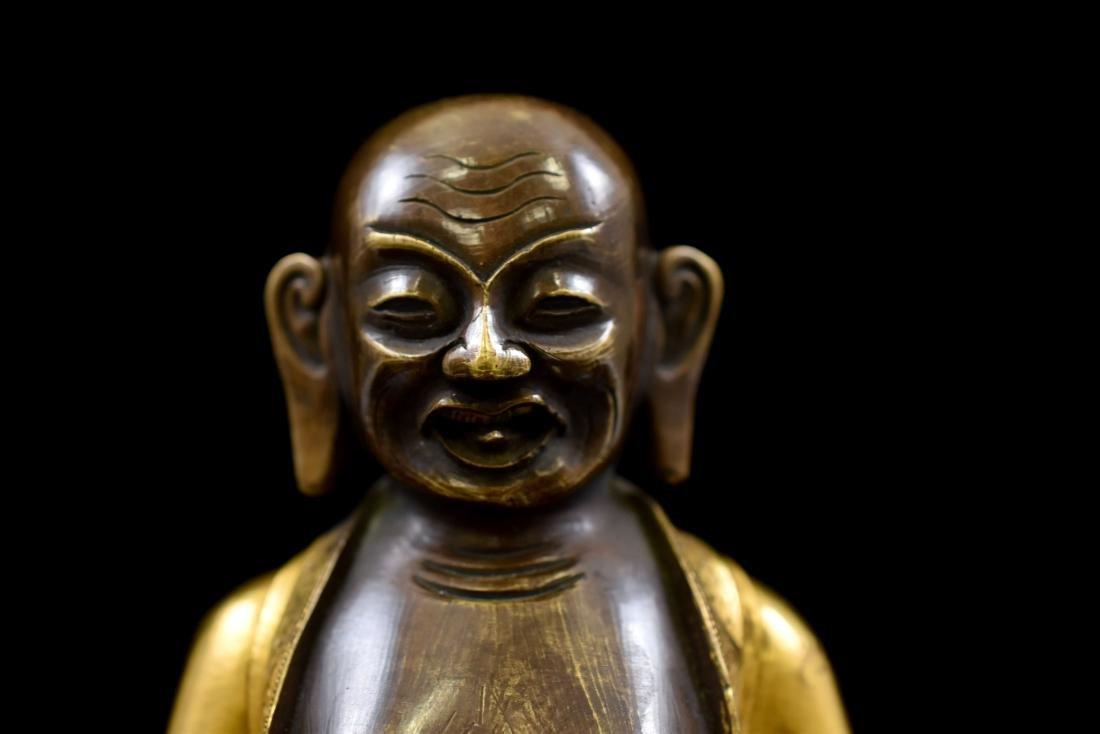 QING GILT BRONZE FIGURE OF BUDDHIST HVASHANG - 6