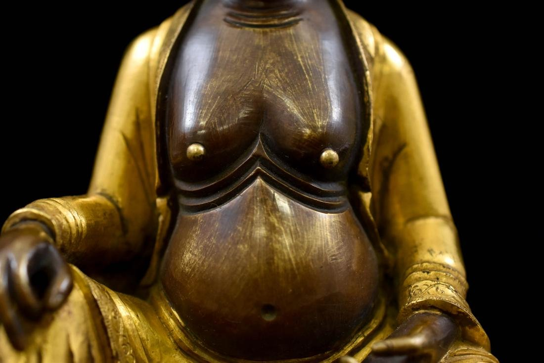 QING GILT BRONZE FIGURE OF BUDDHIST HVASHANG - 7