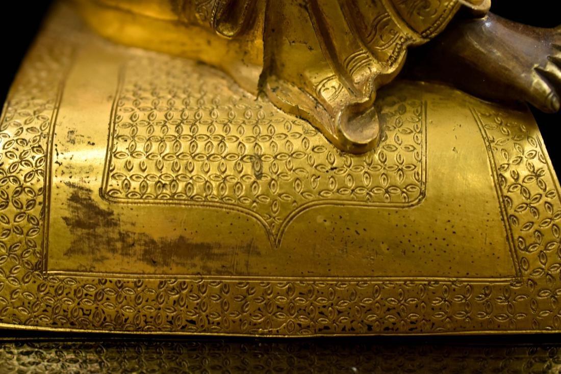 QING GILT BRONZE FIGURE OF BUDDHIST HVASHANG - 9