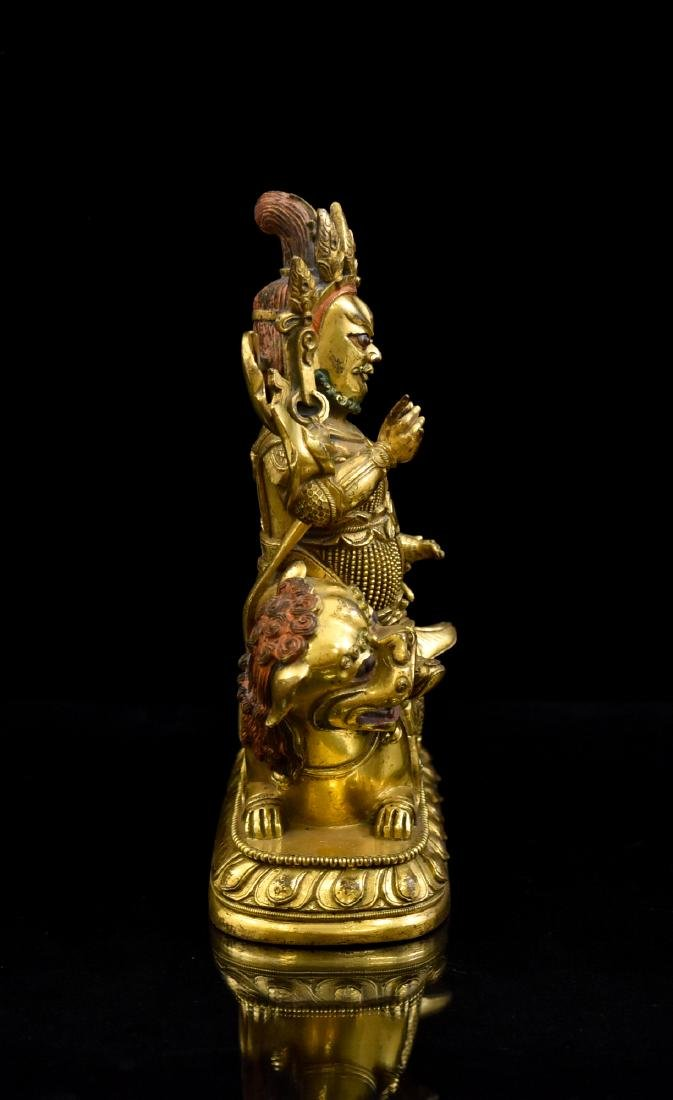 RIDING LION VAISHRAVANA GILT BRONZE BUDDHA STATUE - 4