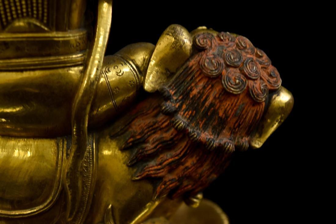 RIDING LION VAISHRAVANA GILT BRONZE BUDDHA STATUE - 7