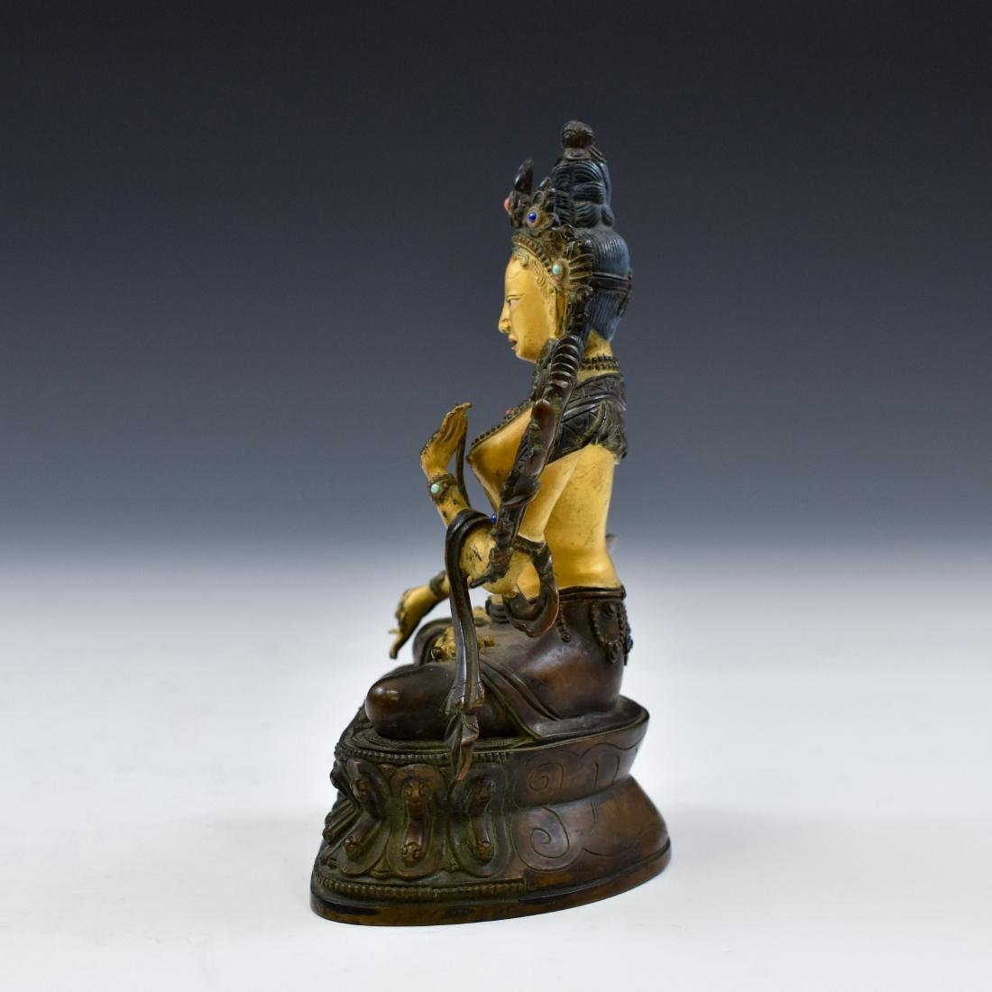 QING COLD GILT BRONZE INLAID BUDDHA OF GREEN TARA - 10