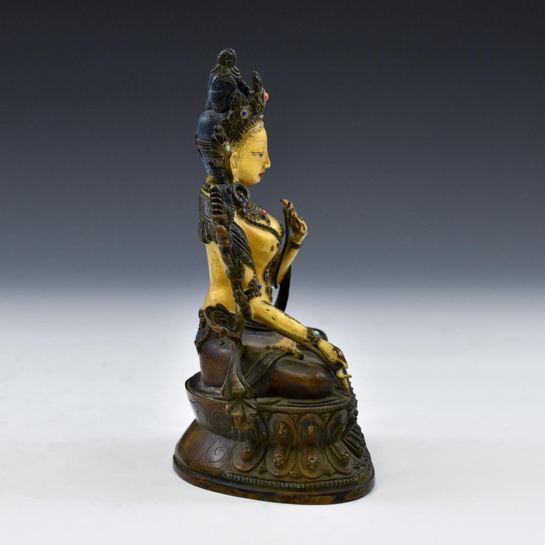 QING COLD GILT BRONZE INLAID BUDDHA OF GREEN TARA - 12