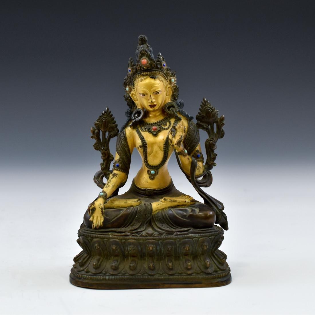 QING COLD GILT BRONZE INLAID BUDDHA OF GREEN TARA