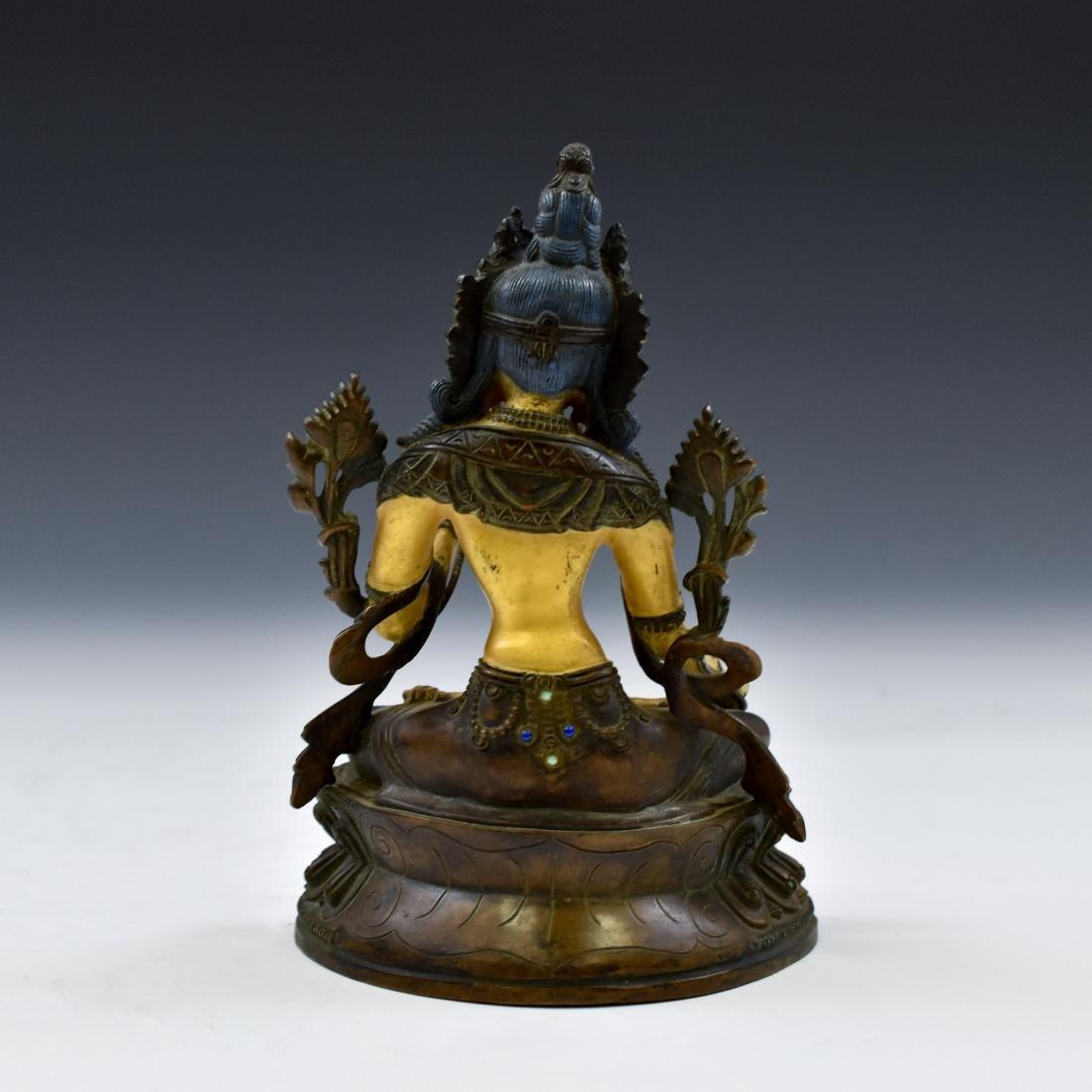 QING COLD GILT BRONZE INLAID BUDDHA OF GREEN TARA - 2
