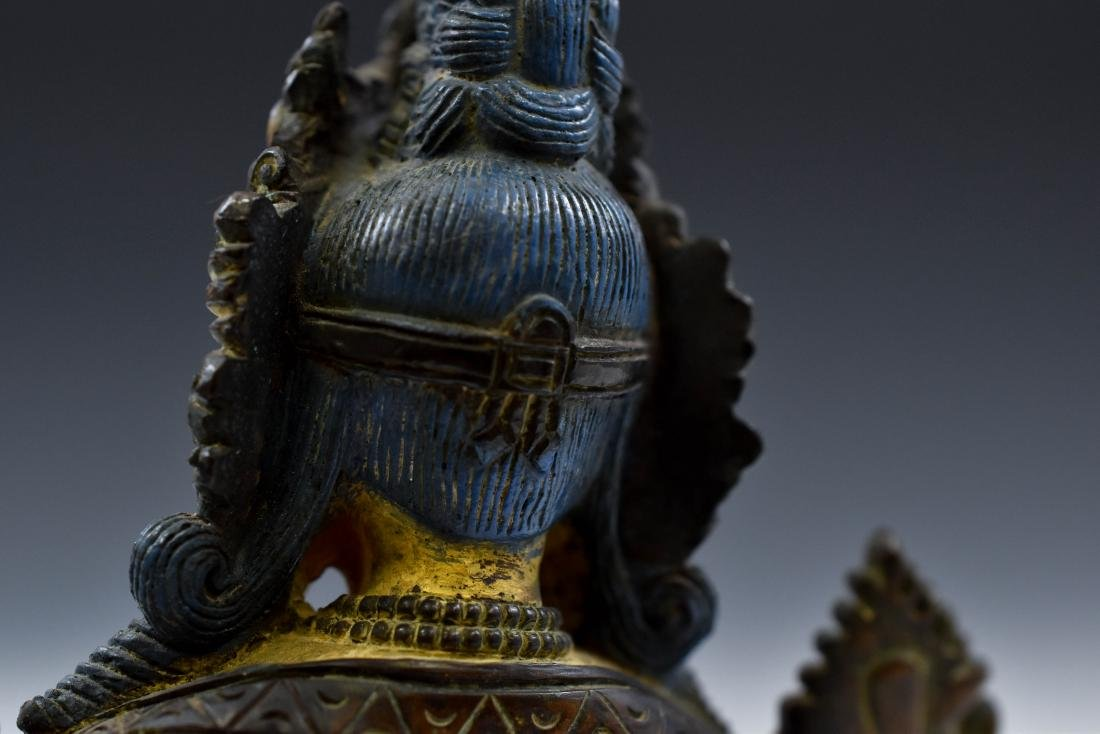 QING COLD GILT BRONZE INLAID BUDDHA OF GREEN TARA - 4
