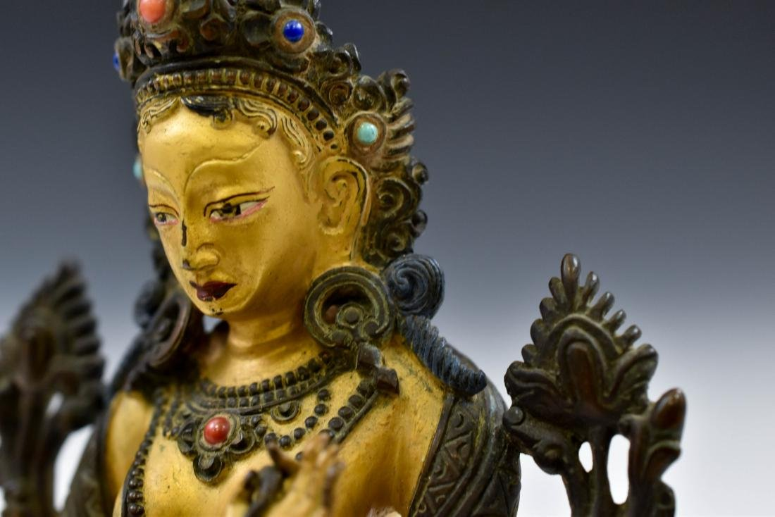 QING COLD GILT BRONZE INLAID BUDDHA OF GREEN TARA - 5