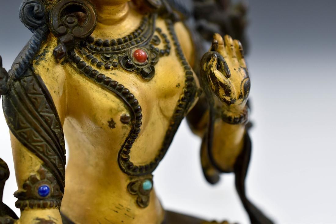QING COLD GILT BRONZE INLAID BUDDHA OF GREEN TARA - 6