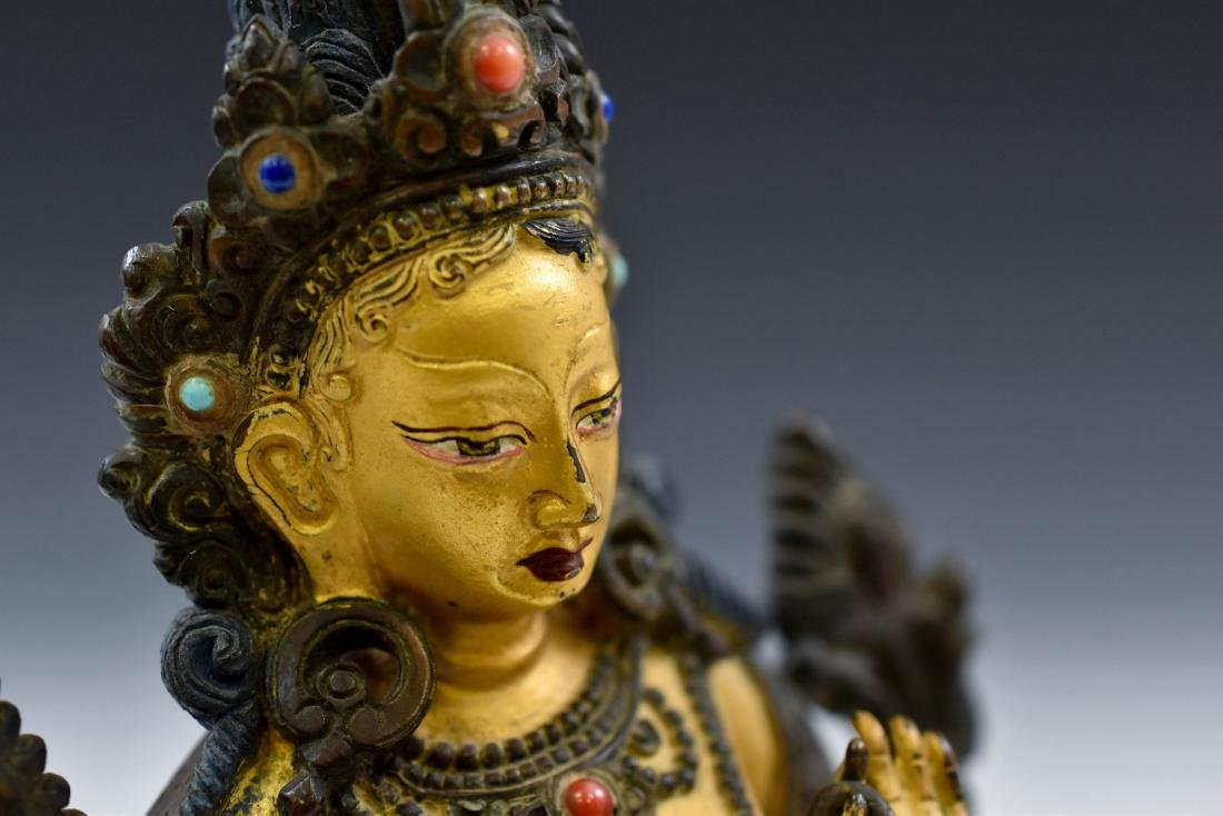 QING COLD GILT BRONZE INLAID BUDDHA OF GREEN TARA - 7