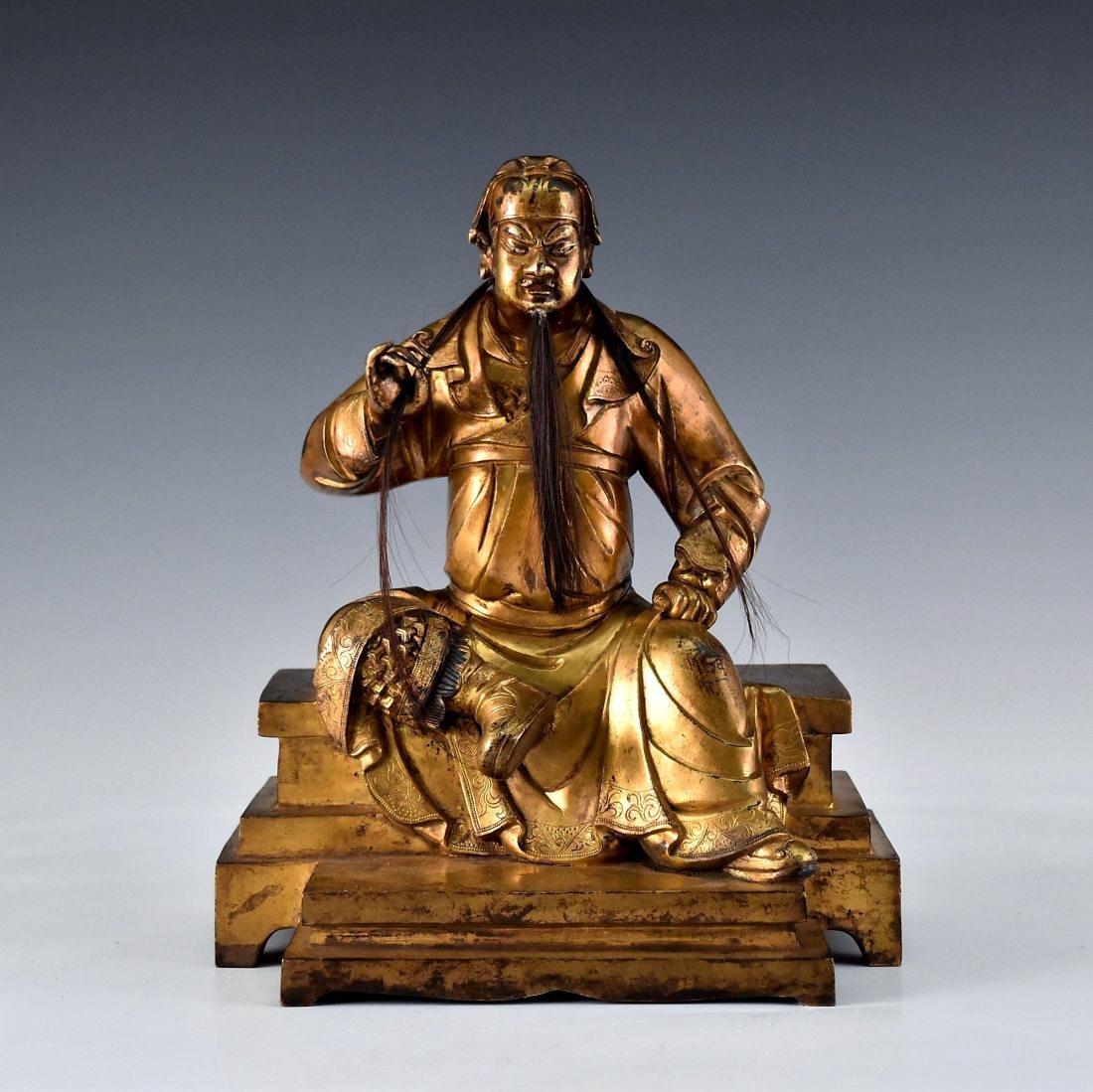 QING GILT BRONZE BUDDHA FIGURE OF GUANDI