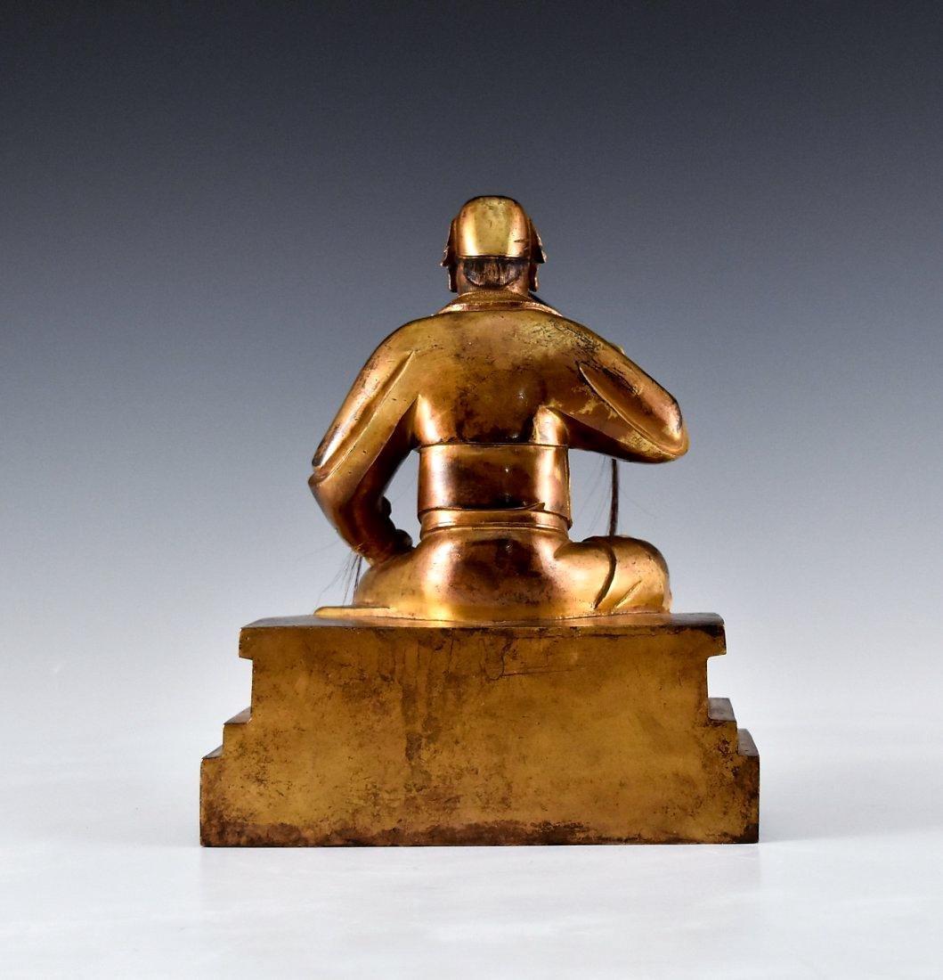 QING GILT BRONZE BUDDHA FIGURE OF GUANDI - 3