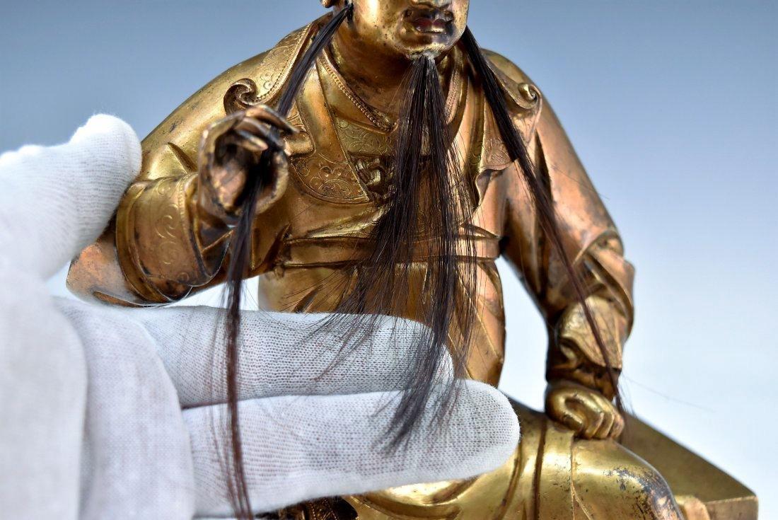 QING GILT BRONZE BUDDHA FIGURE OF GUANDI - 6