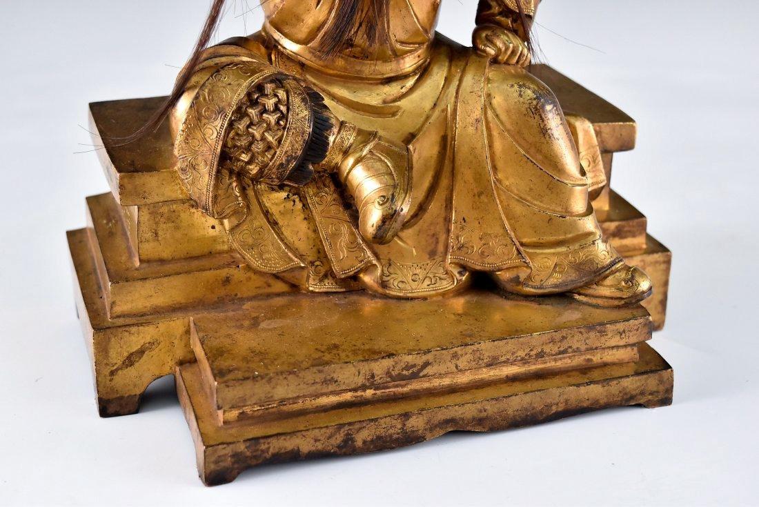 QING GILT BRONZE BUDDHA FIGURE OF GUANDI - 7